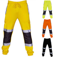 Yeni Erkekler Moda Patchwork Yansıtıcı Tulum Yüksek Görünürlük Güvenli Çalışma Pantolon Erkekler Sweatpants Rahat Joggers Erkek Pantolon