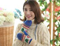 Мода-осень и зима Зимняя Рождественская елка с бархатным утолщением все включено женские вязаные теплые перчатки оптом TO149