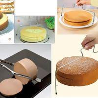 조정 와이어 케이크 커터 슬라이서 스테인레스 스틸 피자 케이크 트리머 계층 빵 분배기 베이킹 도구