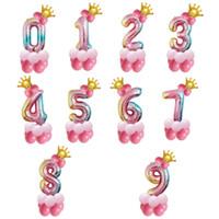 점진적 변경 번호 크라운 풍선 파티는 용품 알루미늄 필름 풍선 생일 파티 고품질 3 7hq J1