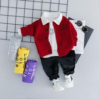 c105d9e0b Hylkidhuose 2019 Baby Boys Girls Clothing Sets Infant Clothes Suits Smiley  Face Lapel T Shirt Coats Pants Kids Children Costume Y190518