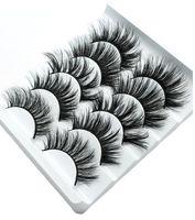 NUEVOS 5 pares de pestañas falsas de visón 3D Pestañas postizas gruesas naturales Ojo largo Pestañas Extensión de pestañas Wispy Maquillaje Herramientas de belleza