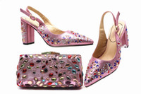 Pink Color New Arrival Ladies Italian Shoes and Bag Set Deco...