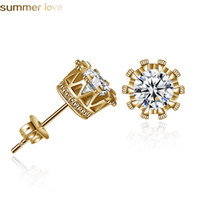 Fashion Crown Stud Earrings Women Classic Shining Zircon Sma...