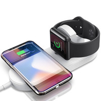 Caricabatterie wireless Qi senza fili 2 in 1 Caricabatterie wireless con cavo per iPhone 8 Plus X iWatch Apple Guarda Samsung Galaxy S7 S8 Plus