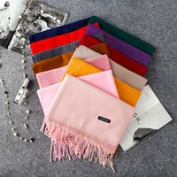 Women Solid Color Cashmere Scarves With Tassel Lady Winter A...