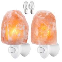 Соляная лампа, натуральный гималайский кристалл соли свет с лампами E12, 11.2 унций мини ручной резьбой ночник с вращающейся настенной розеткой