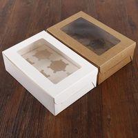 يندوز صناديق كب كيك الأبيض براون كرافت ورقة مربع هدية التغليف ل أصحاب حفل زفاف 6 كأس كعكة مخصصة LX7294