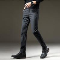 Brand Autumn Pants Men Casual Elastic Long Trousers Male Cotton lattice straight gray Work Pant men's Large size 28-40