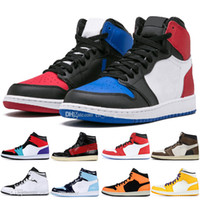 Günstige 1 High OG Travis Scotts Basketballschuhe Multi-Color UNC 1s Top 3 Herren Homage To Home Königsblau Sport Designer Sneakers Trainer