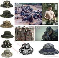 Hot Sale Algodão Bucket Chapéu Para Homens Moda Camuflagem Militar Camo Pescador Chapéus Com Ampla Brim Sun Pesca Bucket Chapéu De Camping Chapéu de caça