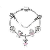 17-21cm charm pärlor armband söt söt tjej hängsmycke 925 silver armband diy smycken som en gåva