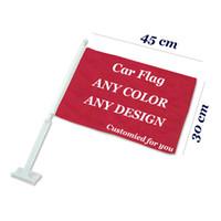 Benutzerdefinierte Fenster-Auto-Flaggen und Banner Design Logo Individuelle Auto Flagge Fertigen Banner 100D Polyester 30x45cm 20.01 / 50pcs Auto-Fenster