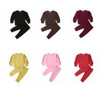 Roupa do bebê Crianças Ruffle Vestuário Define Rapazes Meninas manga comprida Top Calças Ternos Crianças Sólidos Cotton Vestuário Set exterior Desporto Roupa YP959