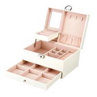 Juelee Multifunktionsaufbewahrungsbox Leder Jewely Box Multi-Layer Großkapazität Jewely Organizer Schmuck Organizer Porta Jo Sh190723