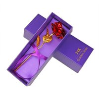24K Gold Plated Rose with box Flower Valentine' s Day Gi...