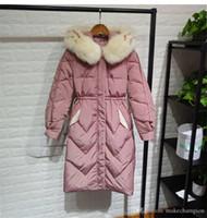 Designer inverno spesso le donne Down Jacket cappotti reale collo in pelliccia calda lungo e pattern sciolti cappotto