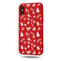 Transfrontalière rouge de fête givré cas de téléphone de Noël pour iPhone 6/7/8/11 étui protecteur en gros sur mesure