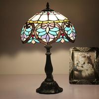 12 polegadas vintage vitral lâmpada azul coração forma quarto lâmpadas bar hotel mesa lamparas bar restaurante sala de estar mesa lâmpada de mesa