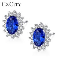 Kadınlar Brincos CJ191223 İçin Katı 925 Gümüş Fine Jewelry ile CZCITY Yeni Doğal Birthstone Kraliyet Mavi Oval Topaz saplama Küpe