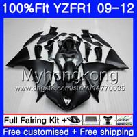 Injektion för Yamaha YZF 1000 R 1 YZF-1000 YZFR1 09 10 11 12 241HM.4 YZF R1 YZF1000 YZF-R1 2009 2010 2011 2012 Fairing All Matte Black Kit