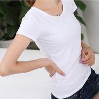 Temel T-shirt Yaz Katı Renk T Gömlek Kadın Kısa Kollu O-Boyun Casual Ince Tee Gömlek Camiseta Feminina Siyah Beyaz