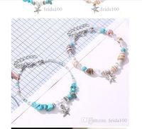 Shell braccialetto transfrontaliera Fashion Seashell stelle marine Bracciale turchese Conch Perline decorato a mano Beach Footchain WL880