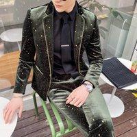 Горошек Костюмы Мужские Slim Fit Темно-Зеленое Платье Брачные Костюмы Мужские Костюмы 2 Шт. Социальные Клубные Наряды Фитинг