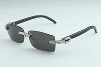 20 Natürliche schwarze Hornspiegellinse, 3524012 -b6 Luxus XL Diamant Sonnenbrille Größe: 56-18-140mm Gläser