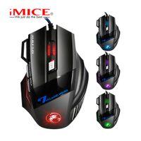 iMice X7 전문 유선 게임 마우스 7 버튼 5500 DPI LED 광학 USB 컴퓨터 마우스 게이머 마우스의 X7