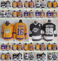 لوس انجليس الرجال الملوك شتاء كلاسيك # 99 اين Gretzky 16 مارسيل ديون 77 جيف كارتر 20 لوتك روبيتايل 19 أسود أصفر هوكي الجليد الفانيلة