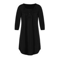 Plus Size femmes Ladies moitié robe à manches Balancez Skater évasé Robe coton tissu en vrac Automne massif O cou Botton Mode
