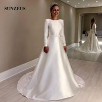 Elegant Simple Ivory Satin Wedding Dresses With Long Sleeves...