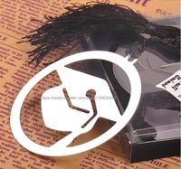 Casquillo 500pcs acero inoxidable Marca Con regalos de boda Negro graduado del sombrero del partido de la borla de la caja de regalo