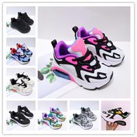 2020 Niños de alta calidad 200 zapatos para correr Chicas Boys Blanco Hyper Pink Childrens Sneaker Mystic Green Black Big Big Kids Reac Tamaño 28-35