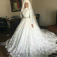 2020 빈티지 사우디 아라비아 터키 여성 공 가운 손으로 만든 긴 소매 웨딩 드레스 레이스 무슬림 웨딩 드레스 신부 드레스 Vestido de Noiva