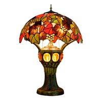 الأمريكية الرجعية الجدول مصباح غرفة المعيشة غرفة نوم مكتب مصابيح مطعم بار الديكور تيفاني ملطخة الزجاج ضوء الليل