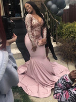 New Long Sleeve Mermaid Plus Size Prom Dresses 2019 Sequined...