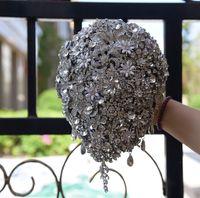 2019 Luxurious completa Cristal Bridal Bouquets broche de cristal Bling Bling Waterdrop handholding Eventos de casamento Mão prende o ramalhete