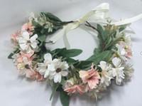 Fait sur mesure filles fleurs couronne couronne enfants faits à la main de feuilles de chrysanthèmes de simulation stéréo Brides enfants bande de cheveux plage A01622