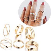 Gold kombinieren Joint Band Ring Zehenringe Set für Frauen Mode Hip Hop Schmuck Will und Sandy Drop Ship