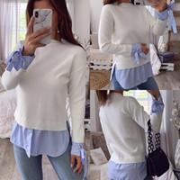 Womens Casual Uzun Kollu Çizgili İnce Bluz Şık Bow Kazak Bluz Gömlek Kış İlkbahar Kadın Dikiş Bluz Sıcak Tops