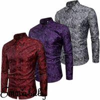 UK Moda Luxo Homens Slim Fit vestido camisa manga comprida Elegante Casual Botão Formal para baixo o t-shirt Top Gary roxo Red S-3XL