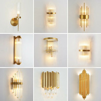 Plating Golden Metal Wall Lamp Luxury Glass Crystal Wall Sco...