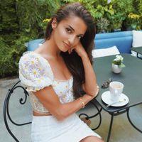 Foridol Jahrgang Daisy Embriodery Weiße Bluse Hemd Sommer Crop Tops Frauen 2020 Blumendruck Boho Tops Strand Sheer Mujer