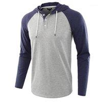 Schlanke Rundhalsausschnitt-T-Shirt Homme Kleidung der Männer mit Kapuze T-Shirt Colorblock Frühlings-Herbst-beiläufige lange Hülse