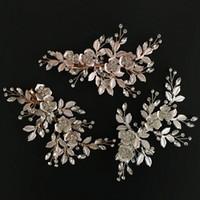 Oro rosa de la boda nupcial de dama de honor de plata hecho a mano Rhinestone peines del pelo diadema de lujo accesorios para el cabello casco Fascinators Tiara