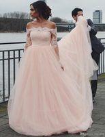 Элегантная очаровательная линия свадебные платья с плечо с длинным рукавом пухлый тюль длиннее румяна розовые свадебные платья с кружевными аппликациями