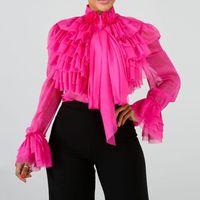 Plain Falbala maniche lunghe Donne 2019 Estate Rosa Ruffles Top Camicetta Femminile Plus Size Ufficio OL eleganti Camicie Lady MX200407