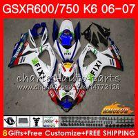 Corpo per Suzuki GSX R750 GSX R600 GSXR 600 750 GSXR750 06-07 8HC.98 GSXR-750 GSX-R600 K6 GSXR600 06 07 2006 2007 Kit carenatura Bianco fabbrica 2007